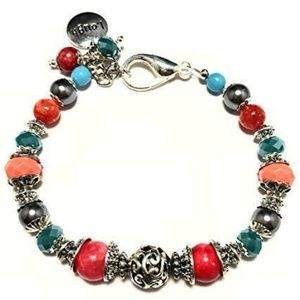 """Jewelry - Coral/Turquoise/Grey~""""Laugh"""" Charm~Bracelet"""